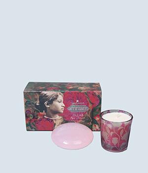 天然玫瑰花香皂+香薰蜡烛礼盒