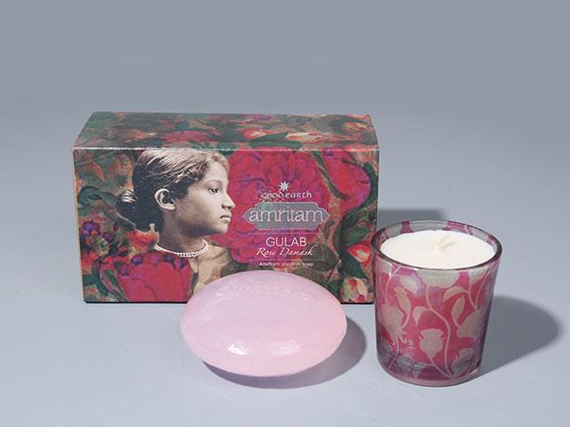 天然玫瑰花香皂+香薰蜡烛礼盒|野兽派