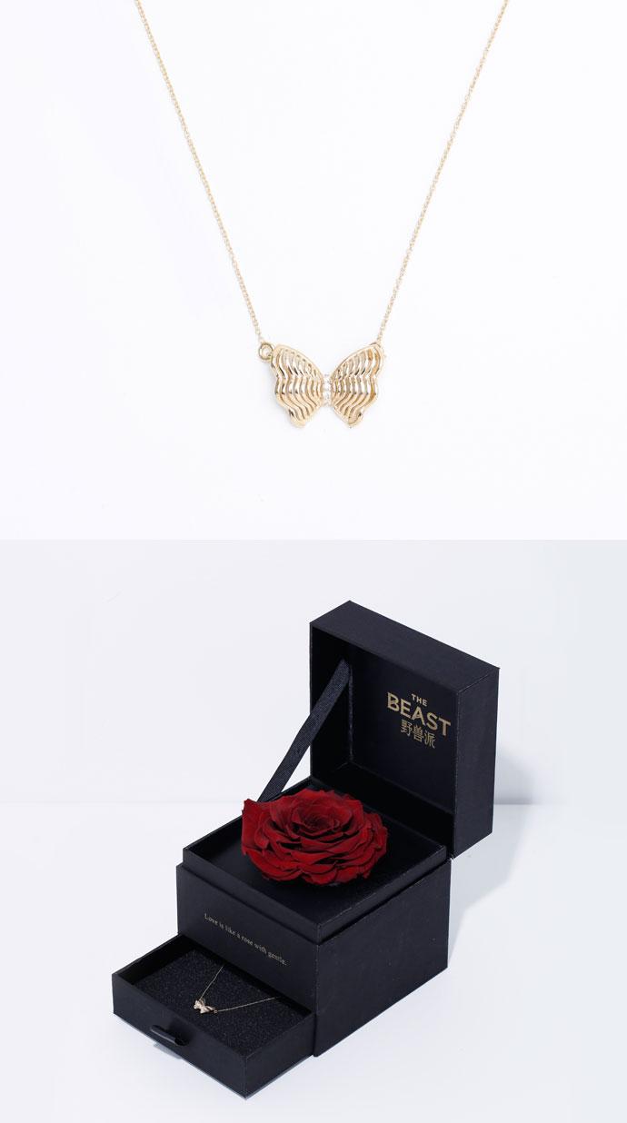黄金钻石蝴蝶结项链礼盒