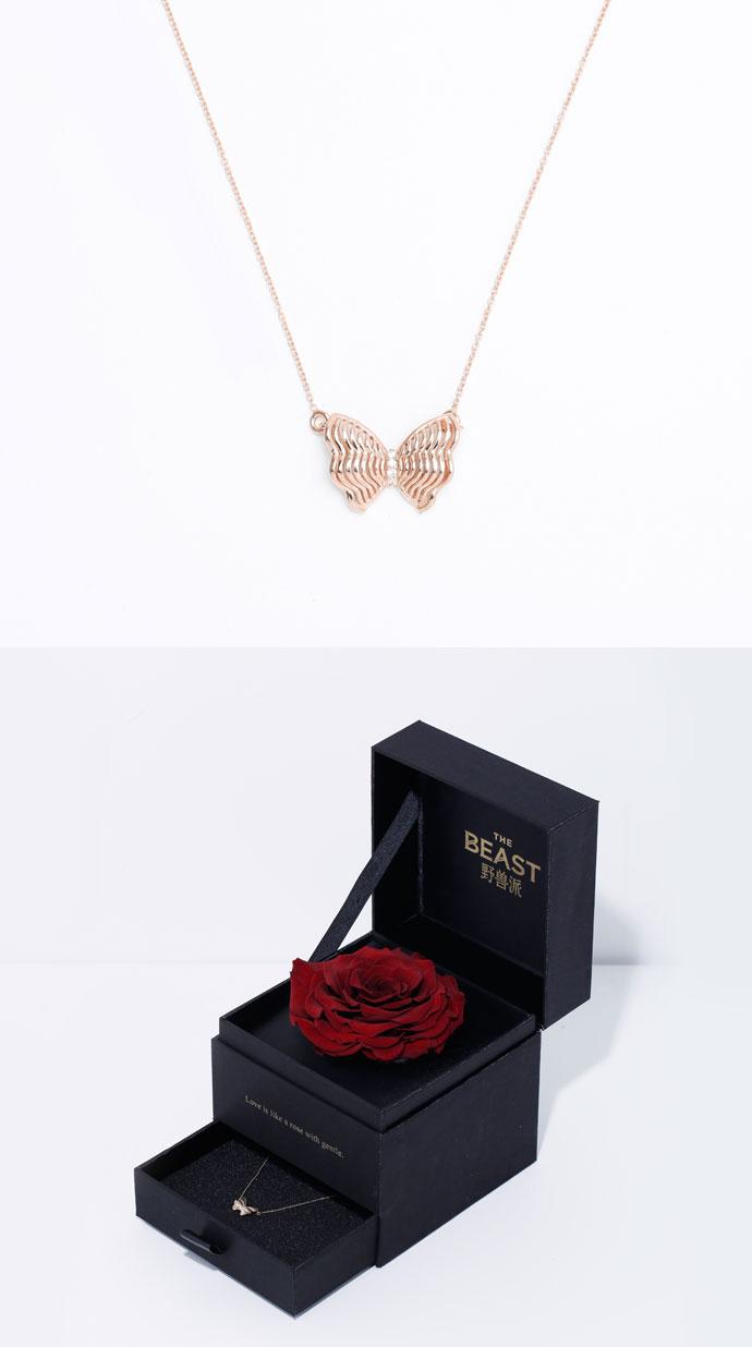 玫瑰金钻石蝴蝶结项链礼盒