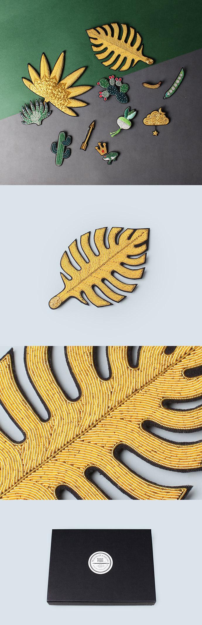 野兽派--金色橡胶树叶胸针